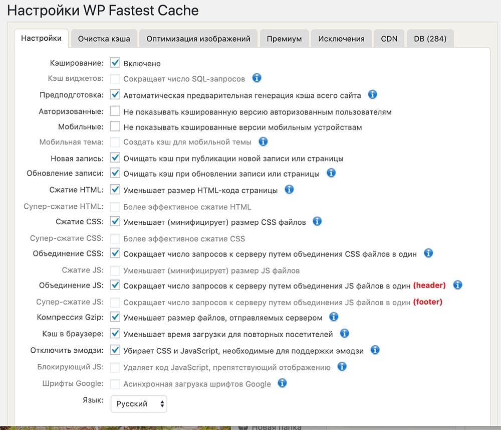 Настройка плагина WP Fastest Cache
